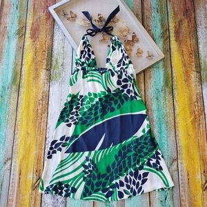Yumi Kim Silk Green Tropical Leaf Halter Dress S